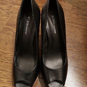 BCBG Black Leather Heels